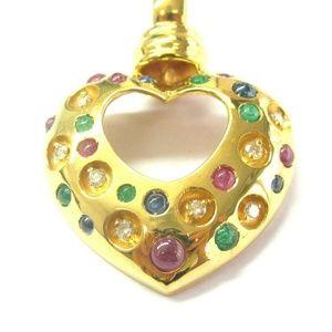 Jewelry - Fine Green Emerald Ruby Sapphire & Diamond BIG GOL